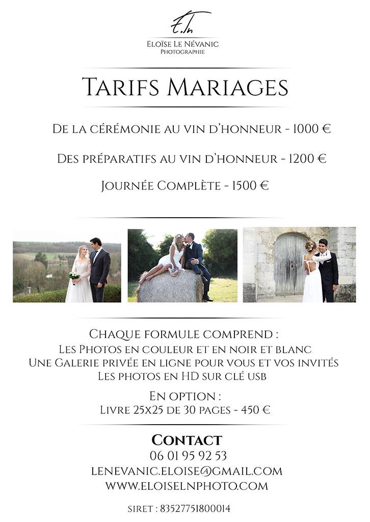 Tarif mariage photographe