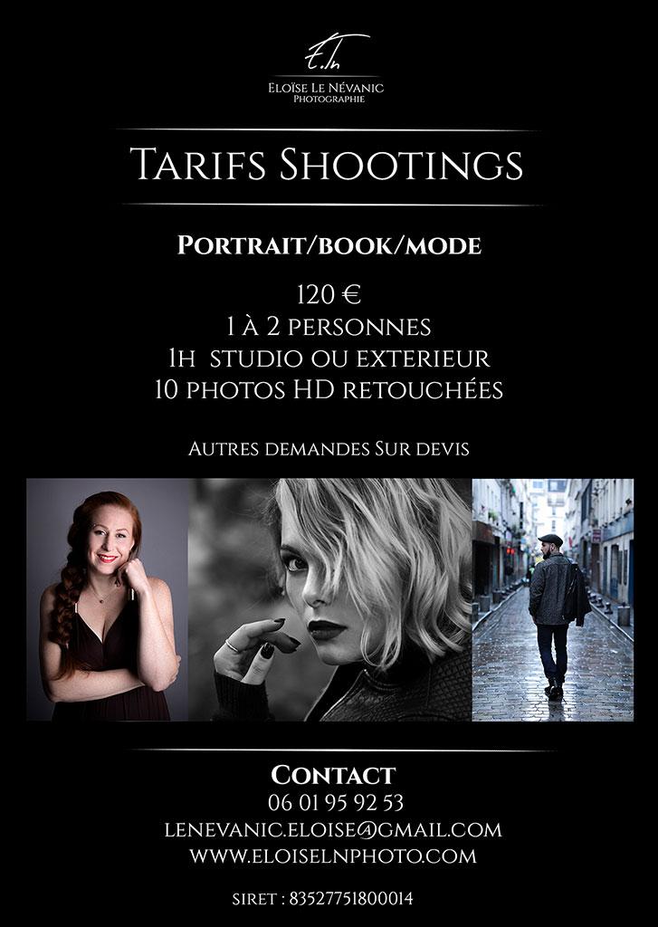 Tarif photographe shooting